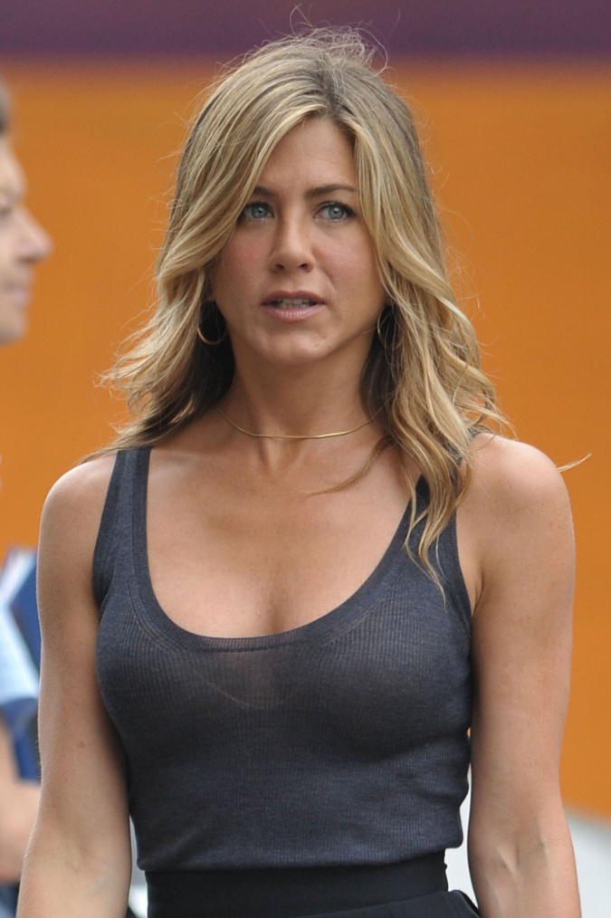 Jennifer Aniston's Rack Hides, Bra Saves the See-Through Day