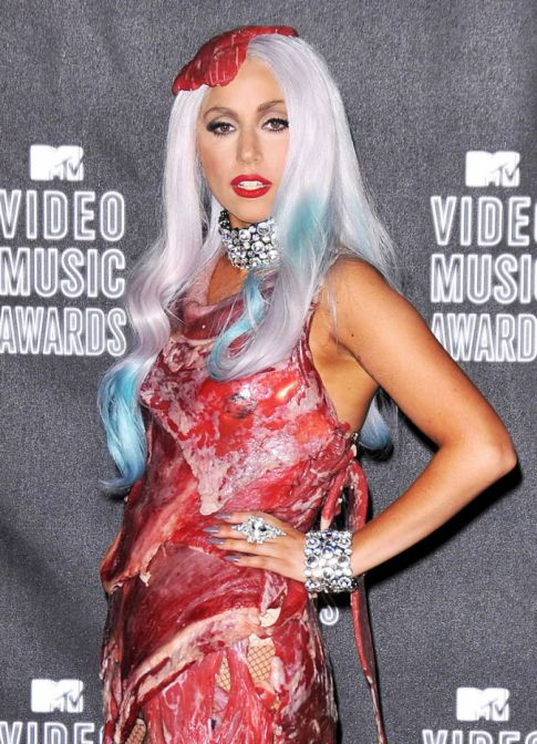 lady gaga meat dress. Lady Gaga#39;s Meat Dress At The