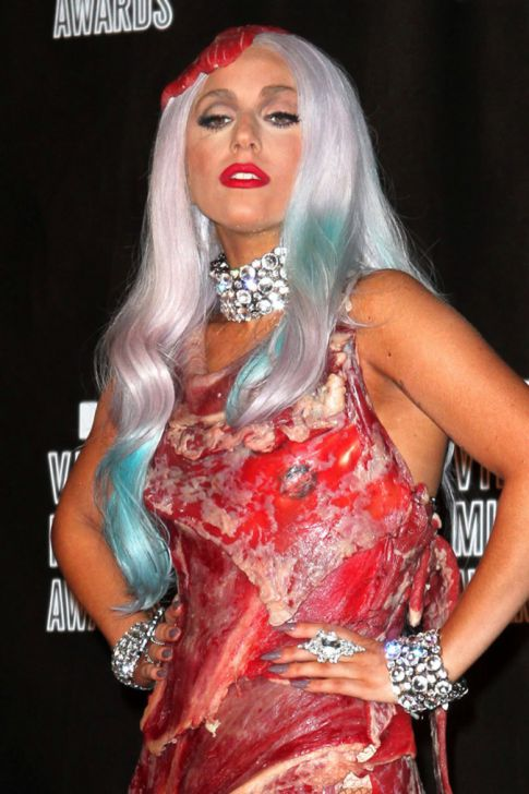 lady gaga meat dress costume. lady gaga meat dress images.