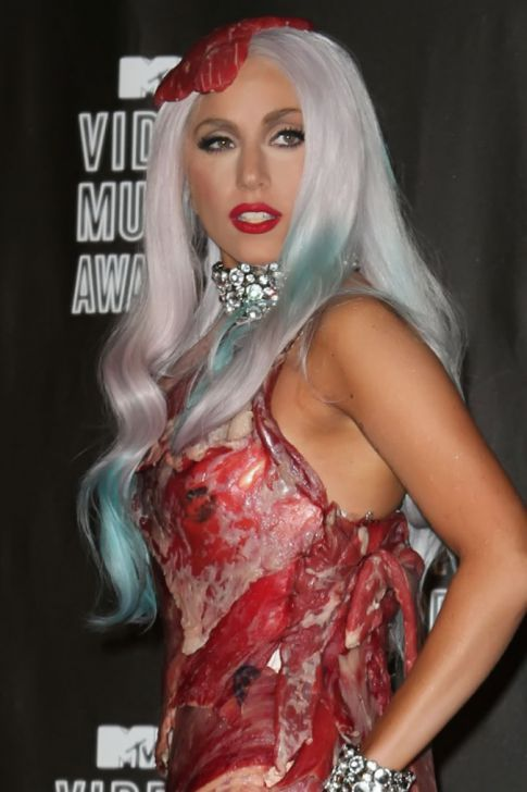 lady gaga meat dress images. lady gaga meat dress pictures.