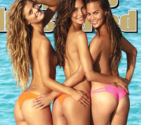 Three topless lovelies celebrate the 50th Anniversary SI Swimsuit Issue